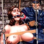 Bdsm art pics of captured barbarian hotties gets their butt holes stretched and cum filled while in bondage.