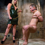 Busty blonde mistress in black late dress flogging gagged and bound dude before asspounding