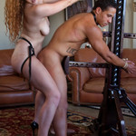 Ebony man gets gagged and bound by hot curly ginger mistress with big tits
