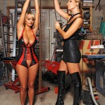 Lesbian babes carol jannete spanking in latex
