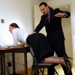 Big boss gets horny when spanking his ginger secretary in his office