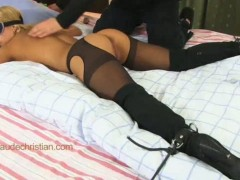 Adorable blone girl nikky in crotchless pantyhose lies on her stomach all tied. vibrating sex toy dildoing her wet pussy.