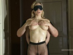Busty blonde lily in sexy pantyhose gets blindfolded and handcuffed. she likes being touched by stranger guy.