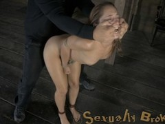 Poor slave girls forced to gag hard on rockhard cock of their capturer after being whipped and nipples abused.