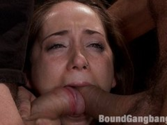 Adorable petite amateur girl with big round ass does her first gangbang and her first porn shoot ever on boundgangbangs!! her first dp! first bondage!
